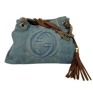 Gucci Blue Distressed Denim Soho Double Chain